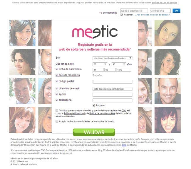Meetic pantalla inicial