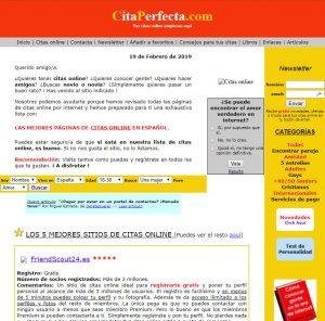 pantallazo de CitaPerfecta.com en els año 2006