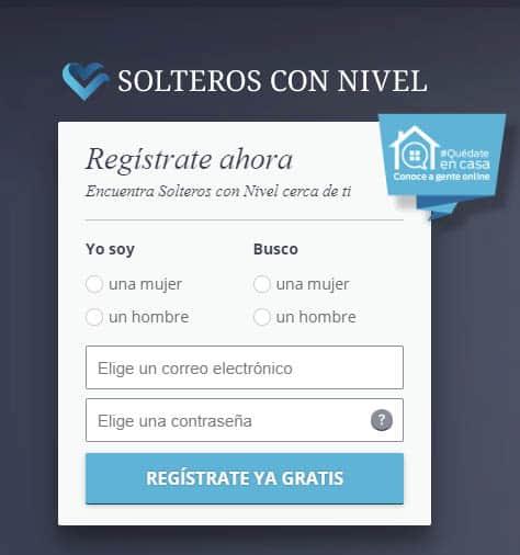 pantalla de registro de Solteros Con Nivel