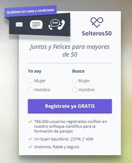 pantalla de registro en Solteros50